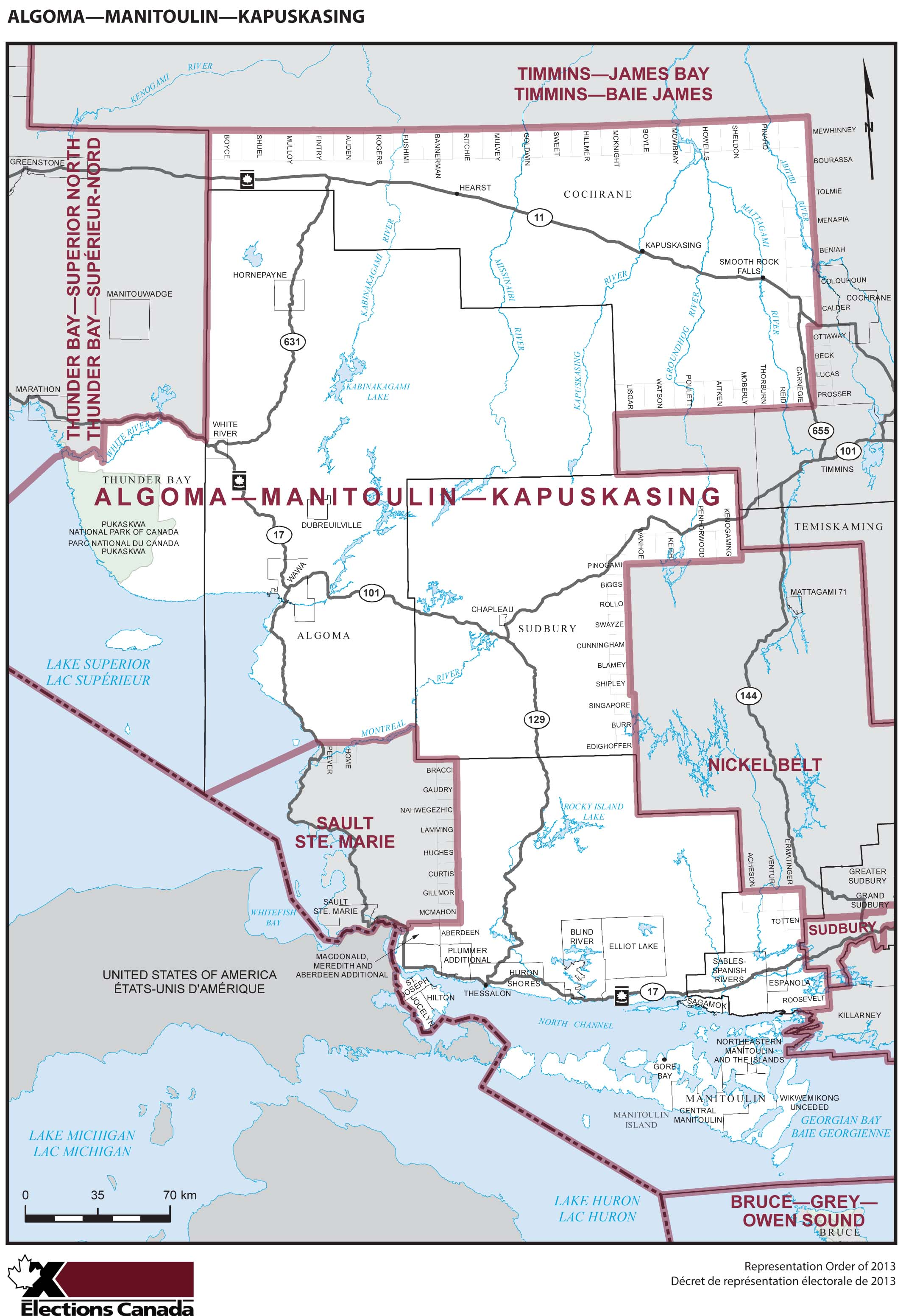 Map: Algoma--Manitoulin--Kapuskasing, Federal electoral district, 2013 Representation Order (in white), Ontario