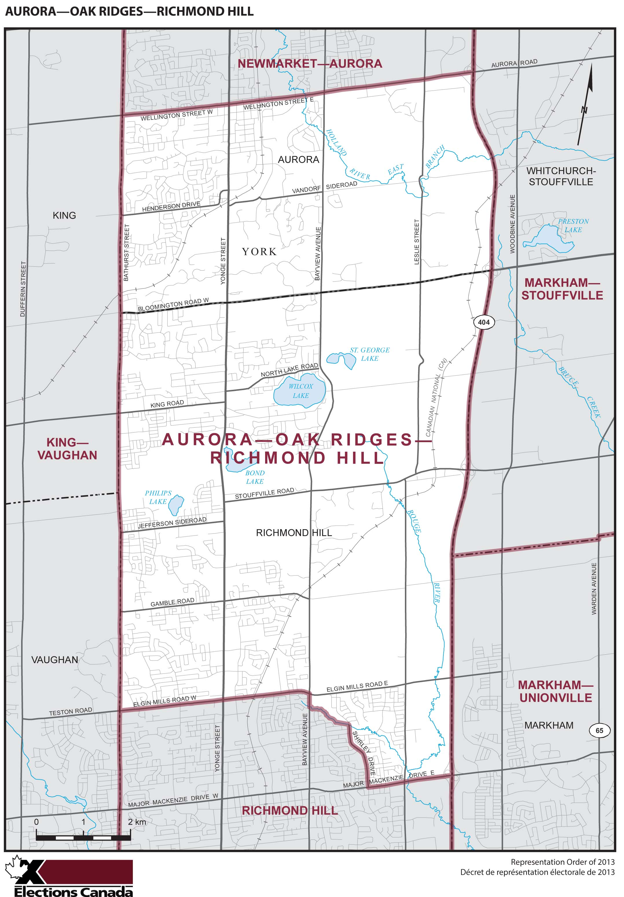 Map: Aurora--Oak Ridges--Richmond Hill, Federal electoral district, 2013 Representation Order (in white), Ontario