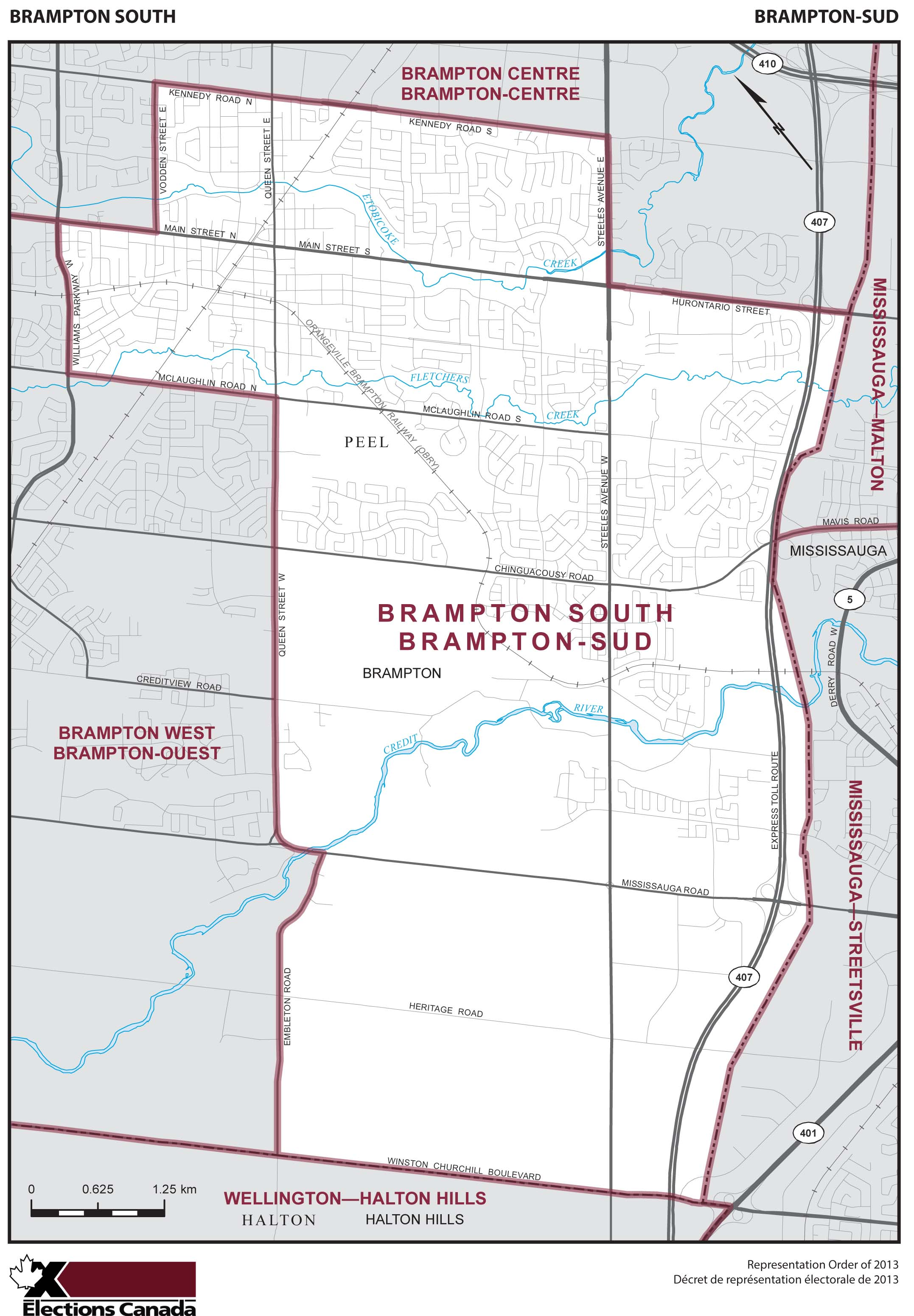 Map: Brampton South, Federal electoral district, 2013 Representation Order (in white), Ontario