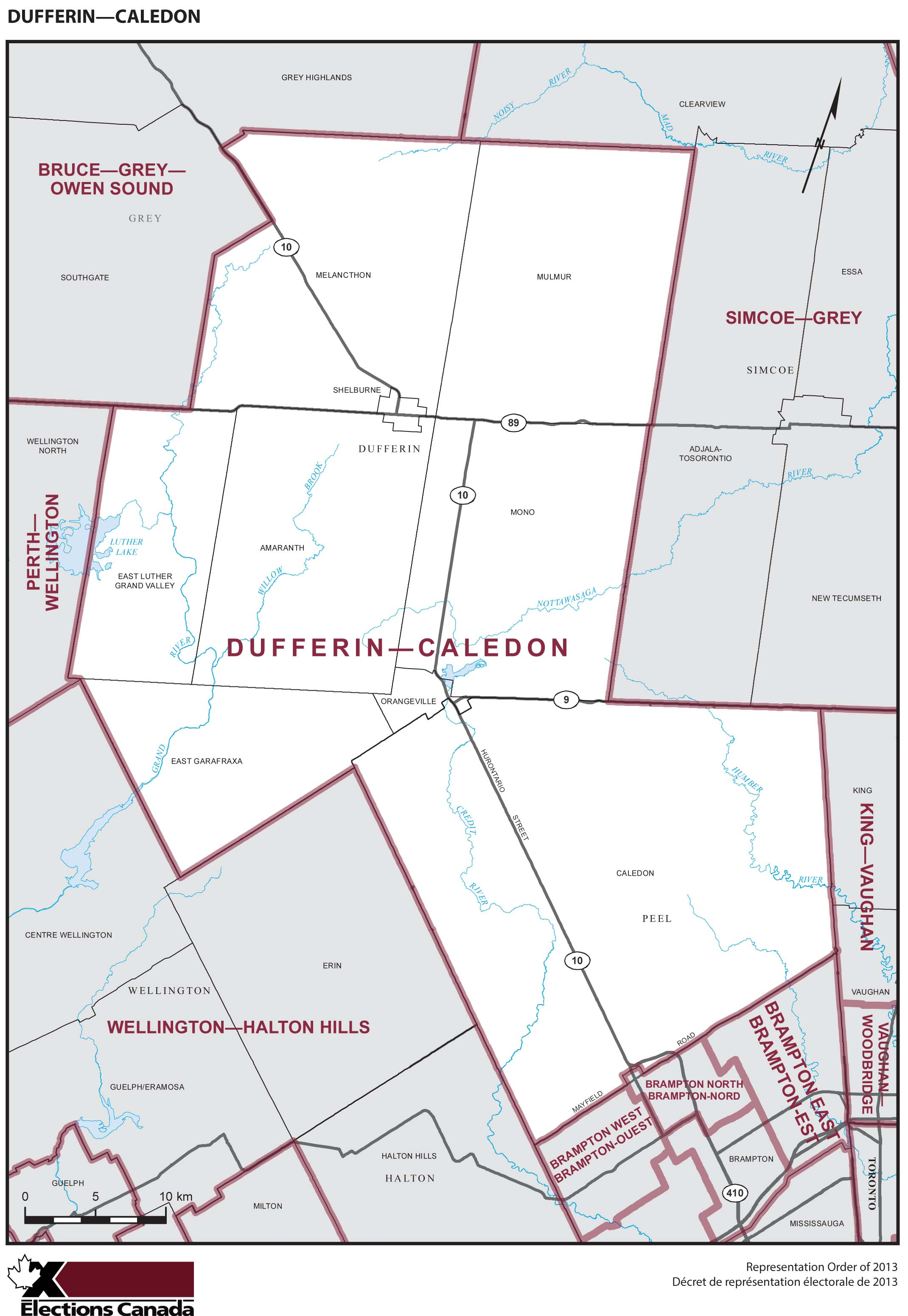Map: Dufferin--Caledon, Federal electoral district, 2013 Representation Order (in white), Ontario