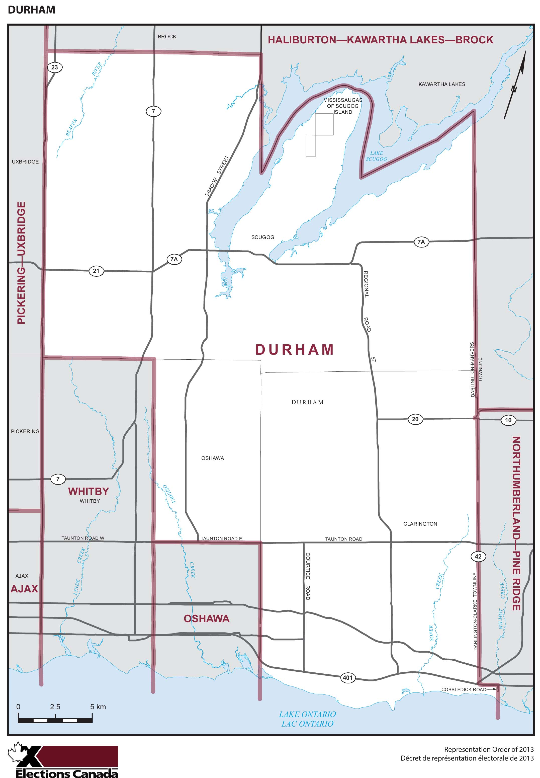 Map: Durham, Federal electoral district, 2013 Representation Order (in white), Ontario