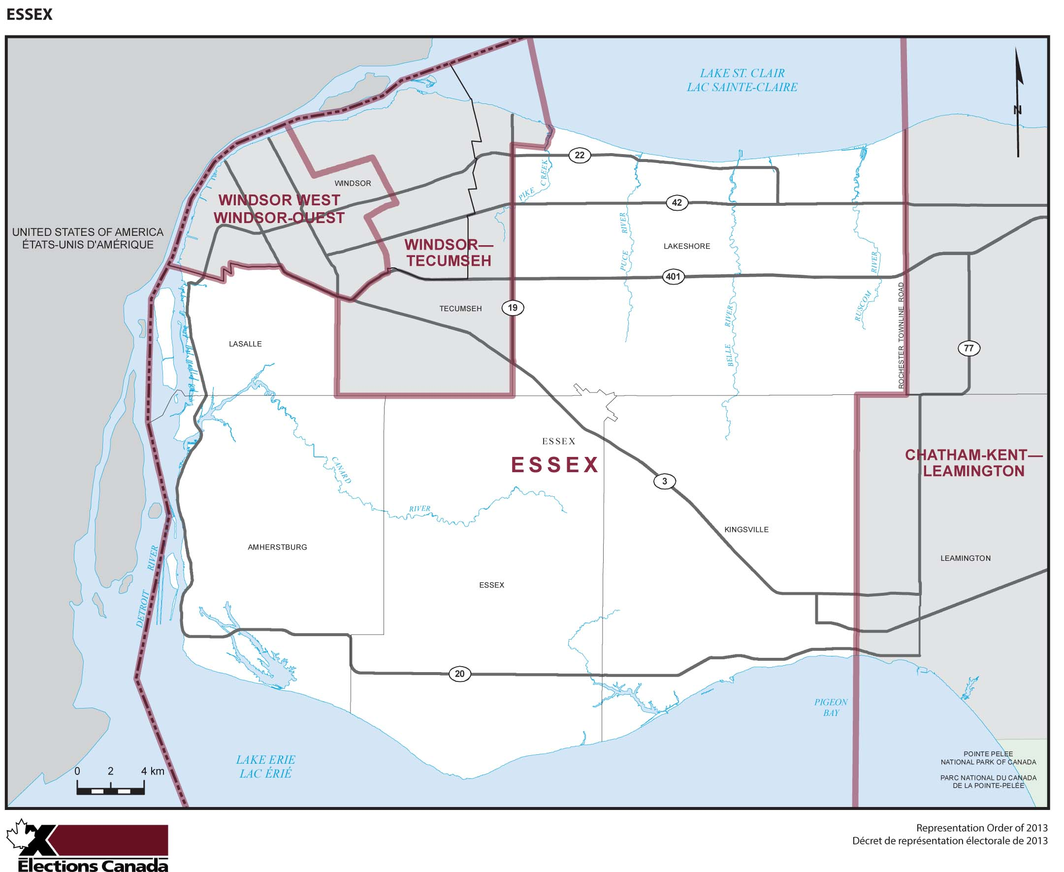 Map: Essex, Federal electoral district, 2013 Representation Order (in white), Ontario