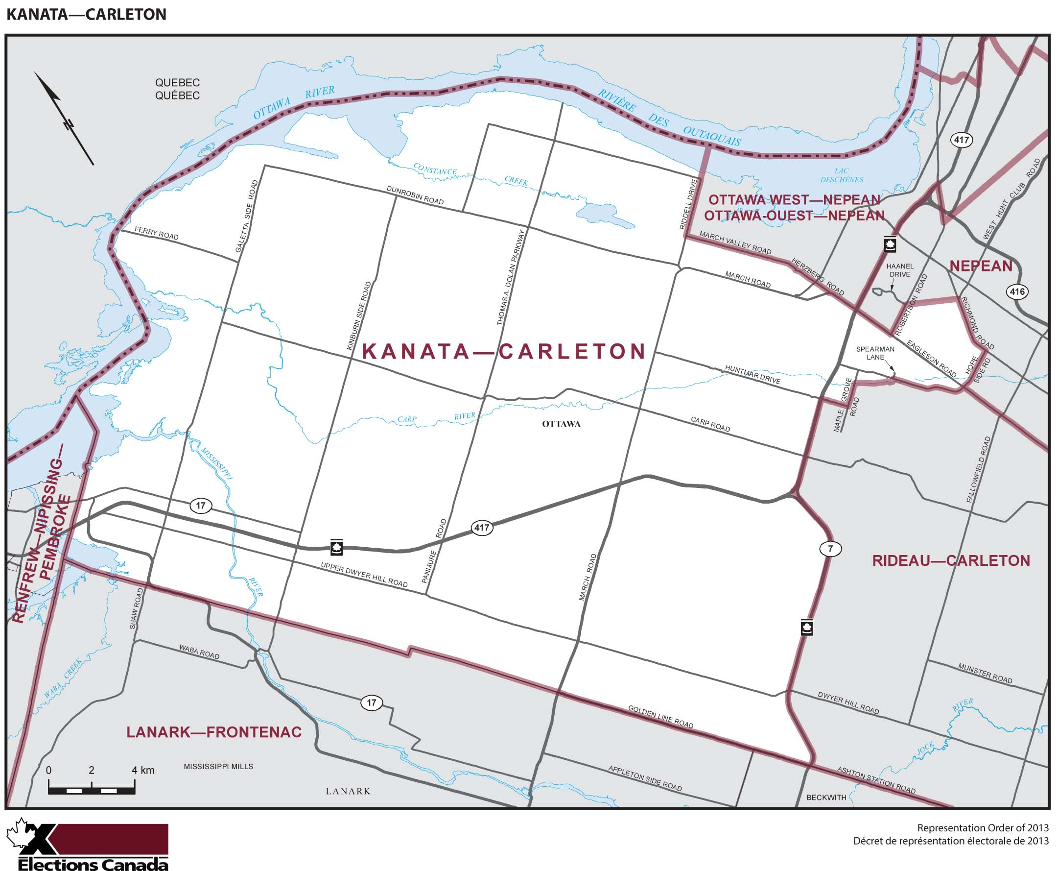 Map: Kanata--Carleton, Federal electoral district, 2013 Representation Order (in white), Ontario