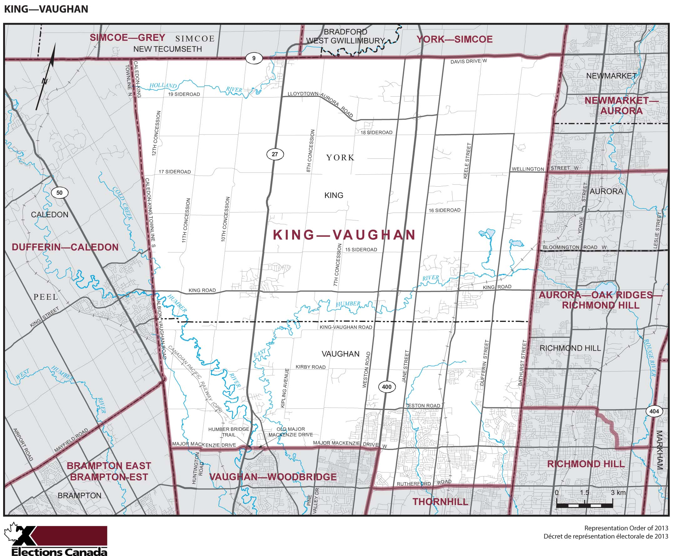 Map: King--Vaughan, Federal electoral district, 2013 Representation Order (in white), Ontario