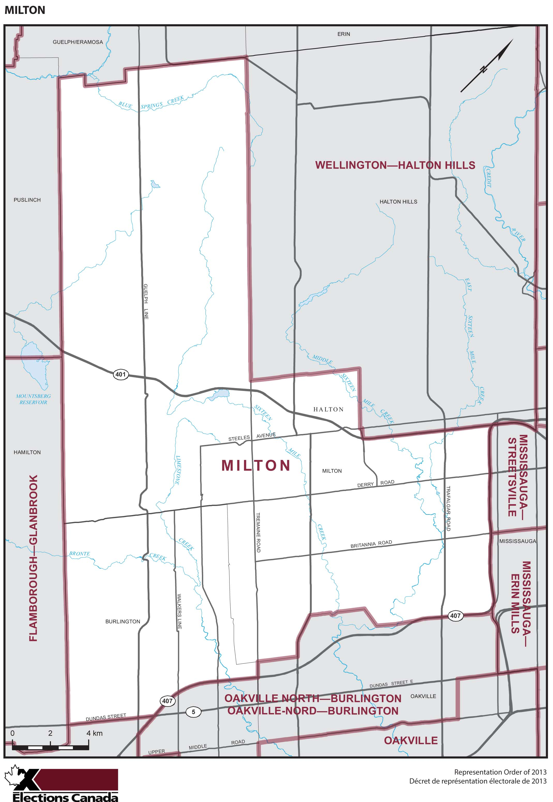 Map: Milton, Federal electoral district, 2013 Representation Order (in white), Ontario