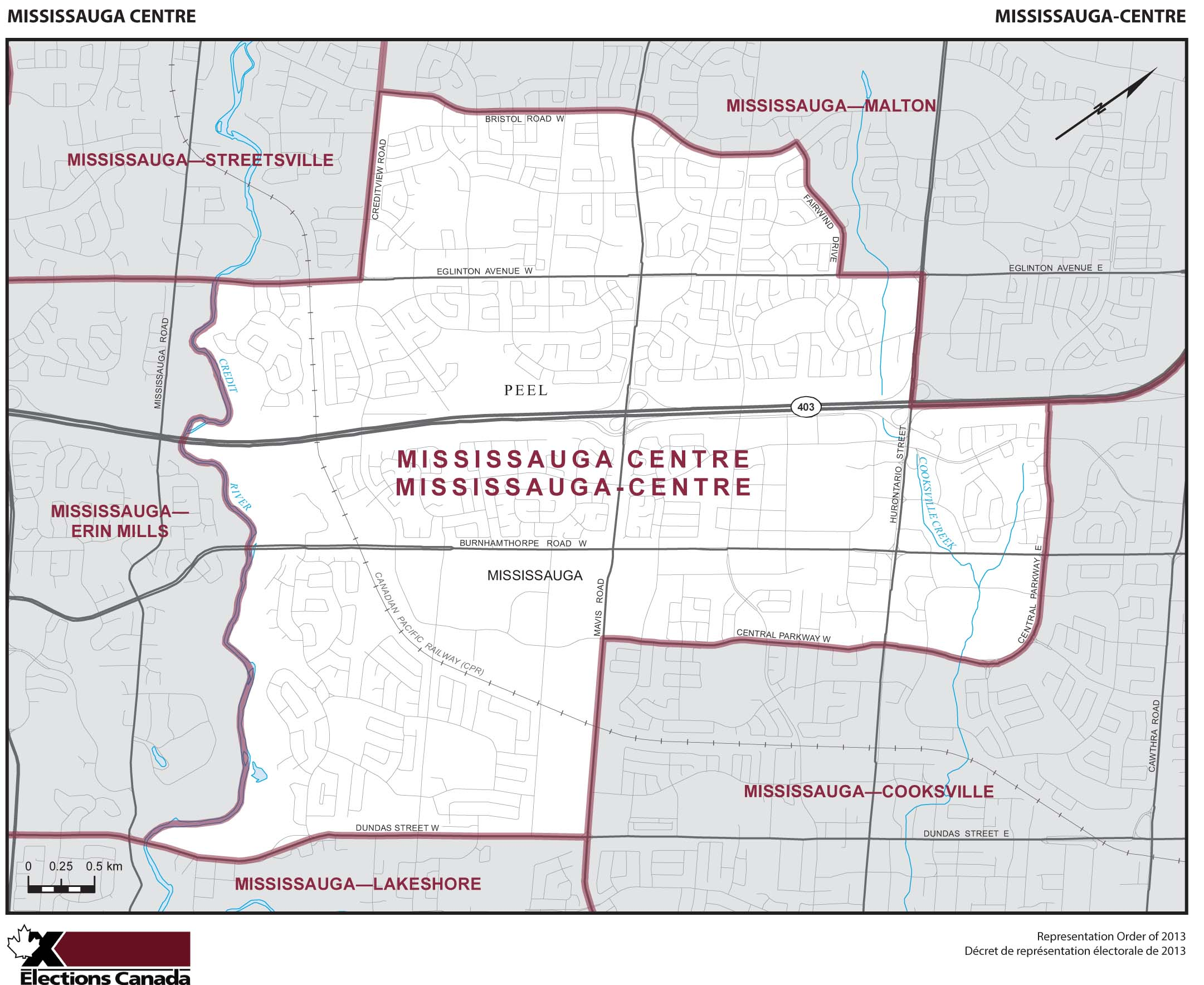 Map: Mississauga Centre, Federal electoral district, 2013 Representation Order (in white), Ontario
