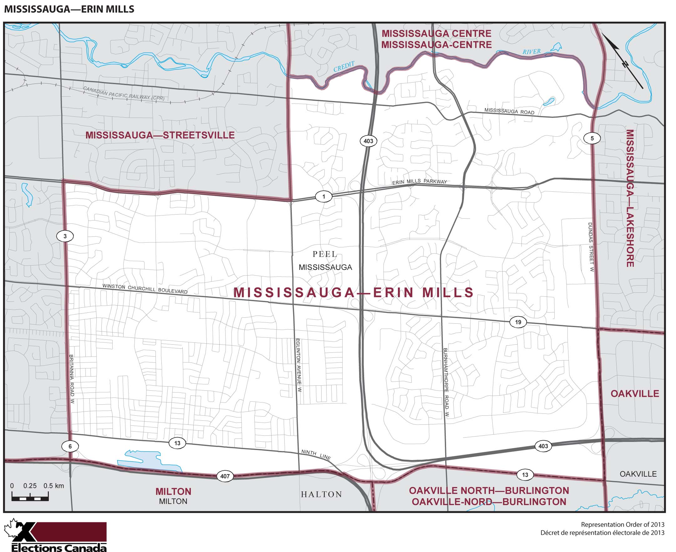 Map: Mississauga--Erin Mills, Federal electoral district, 2013 Representation Order (in white), Ontario