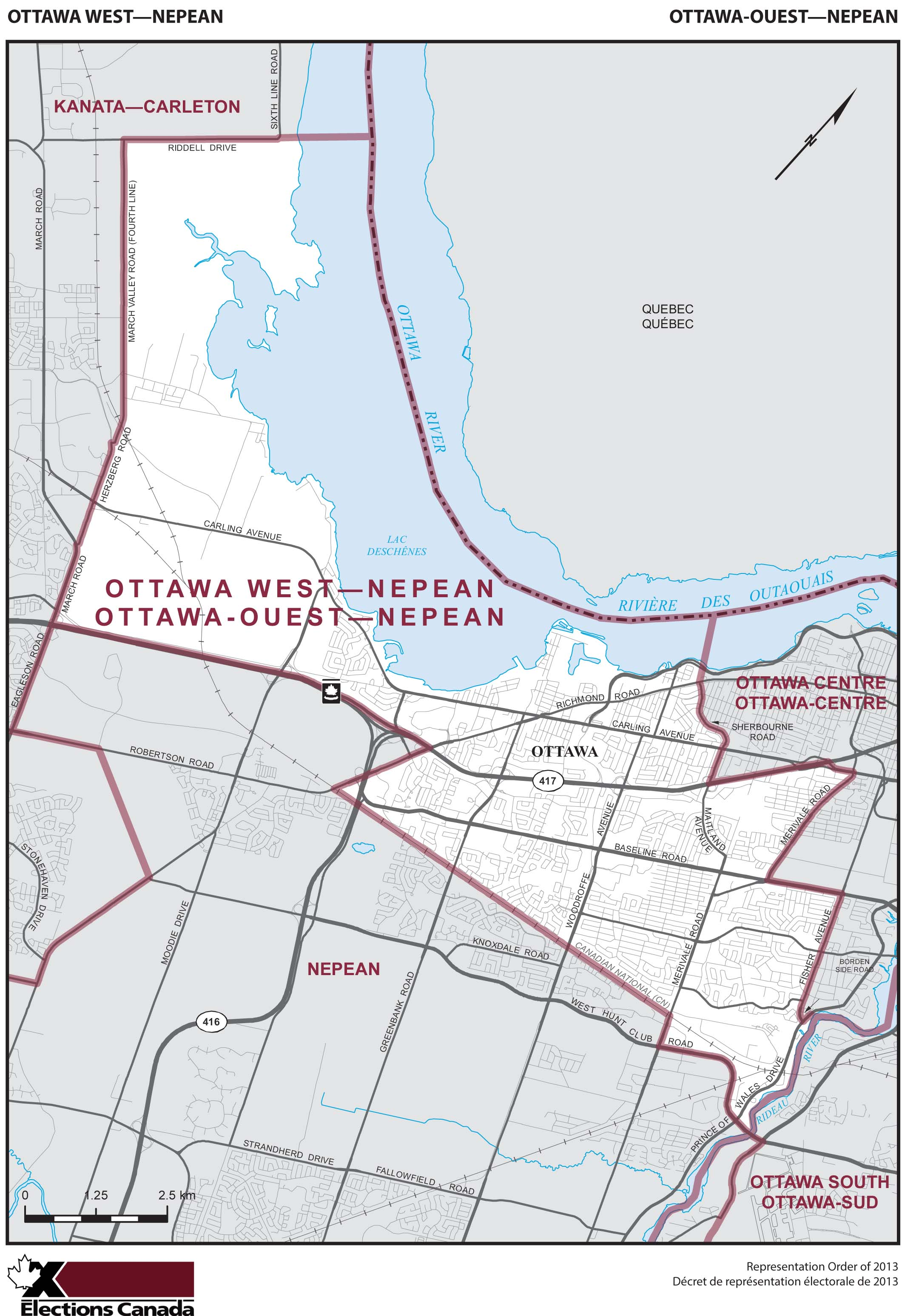 Map: Ottawa West--Nepean, Federal electoral district, 2013 Representation Order (in white), Ontario