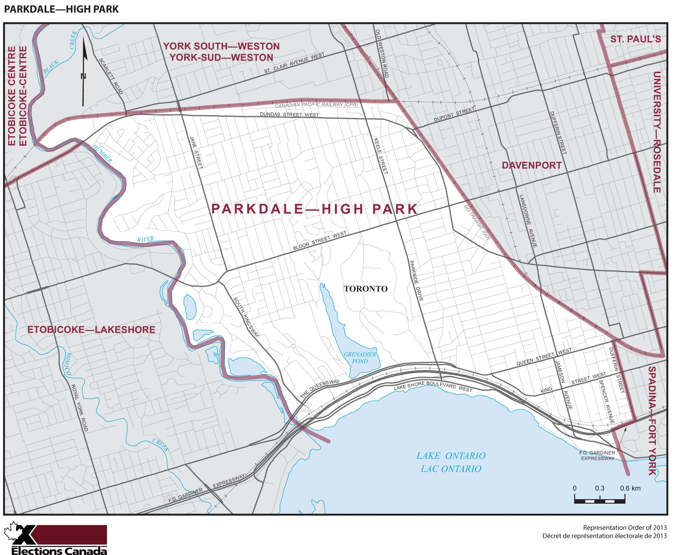 Map: Parkdale--High Park, Federal electoral district, 2013 Representation Order (in white), Ontario