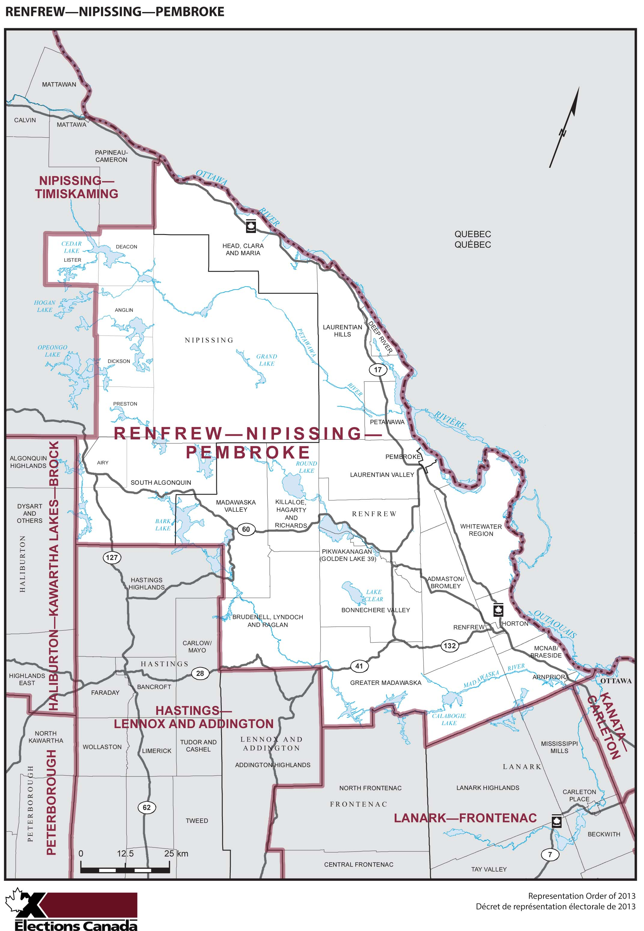 Map: Renfrew--Nipissing--Pembroke, Federal electoral district, 2013 Representation Order (in white), Ontario
