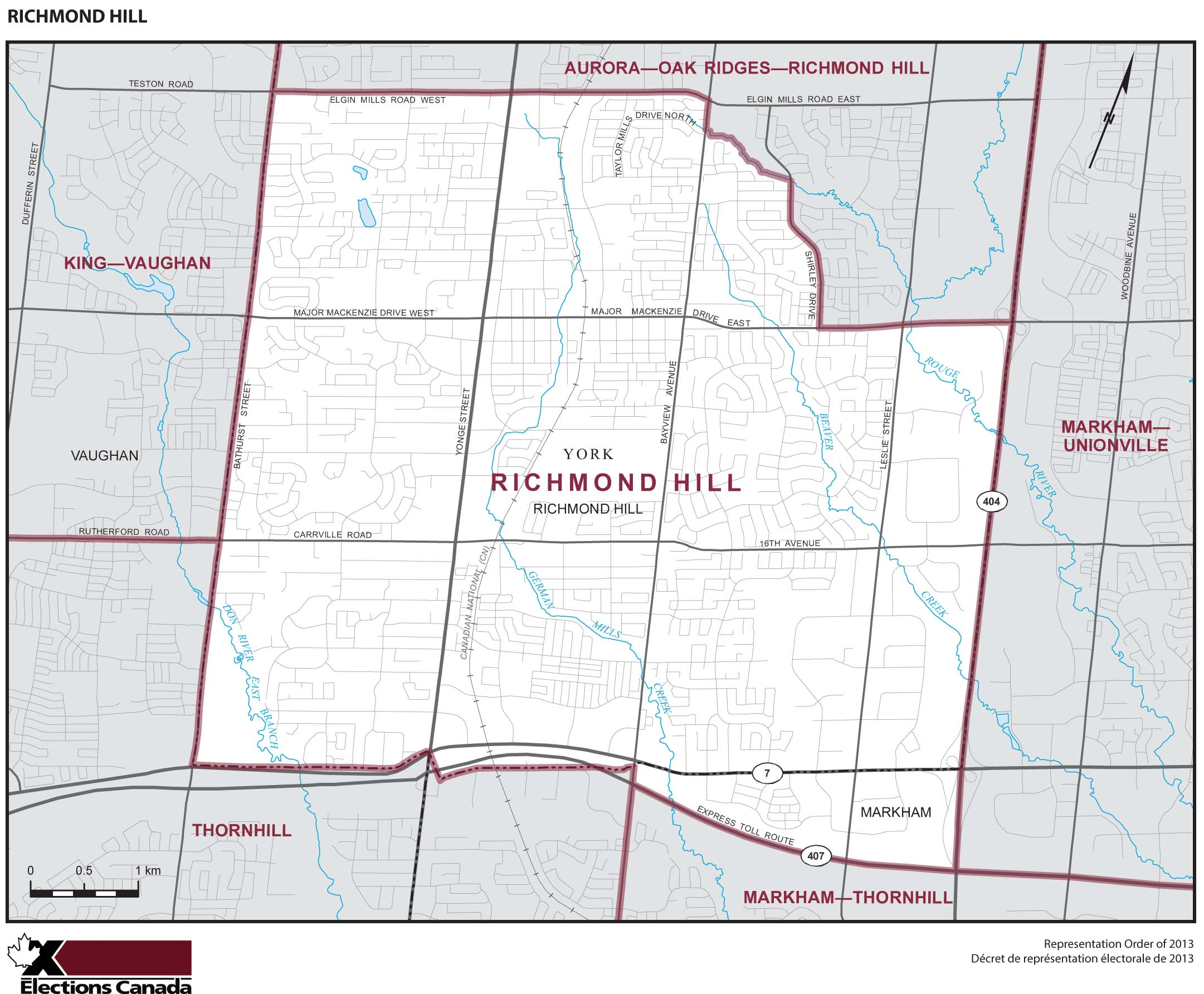 Map: Richmond Hill, Federal electoral district, 2013 Representation Order (in white), Ontario