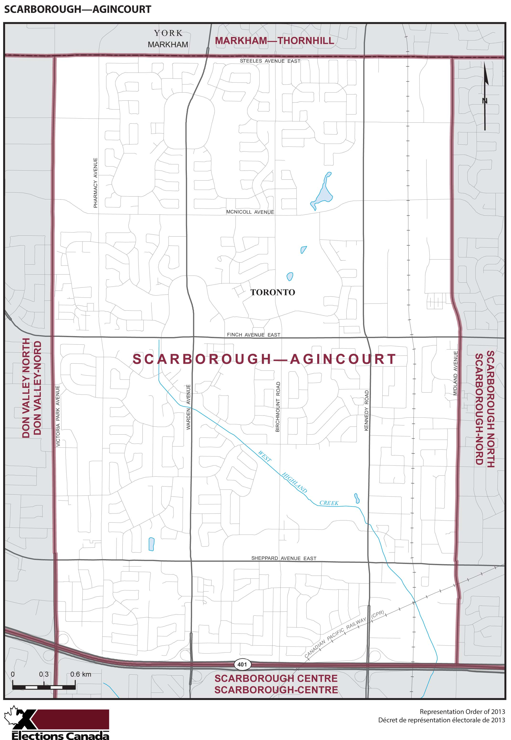 Map: Scarborough--Agincourt, Federal electoral district, 2013 Representation Order (in white), Ontario