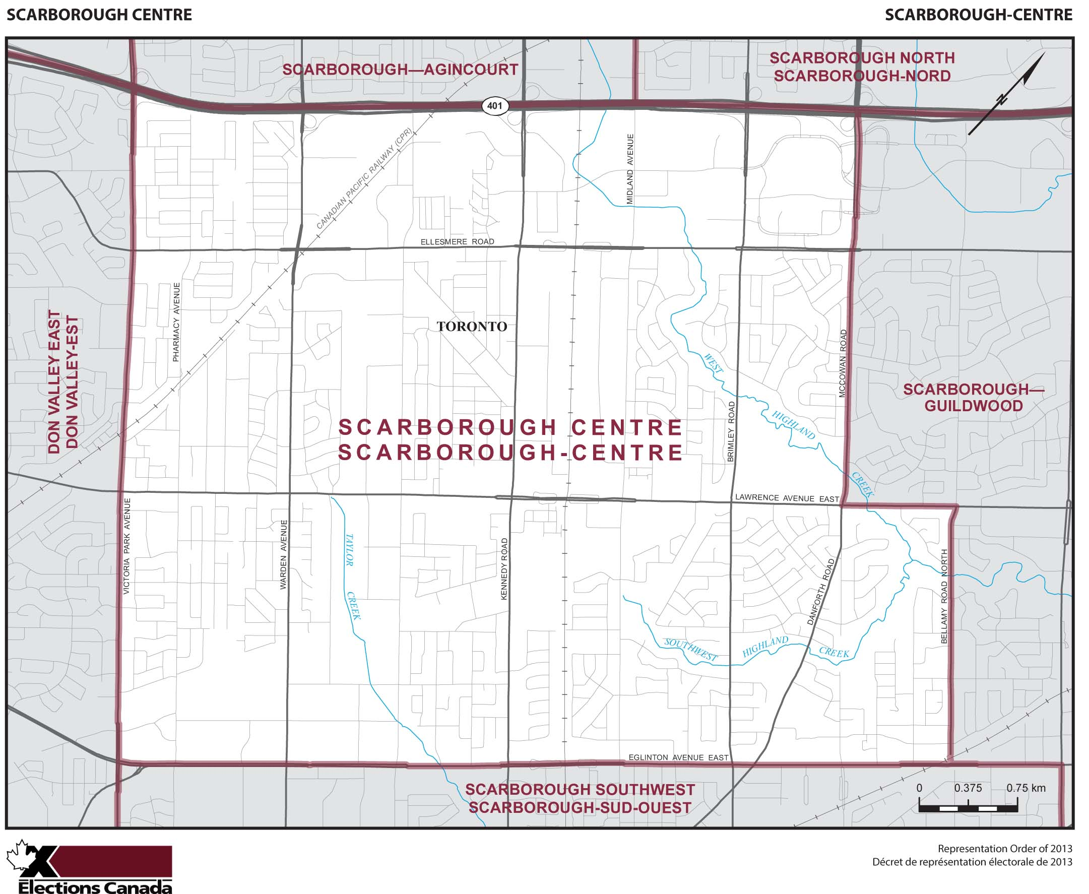 Map: Scarborough Centre, Federal electoral district, 2013 Representation Order (in white), Ontario
