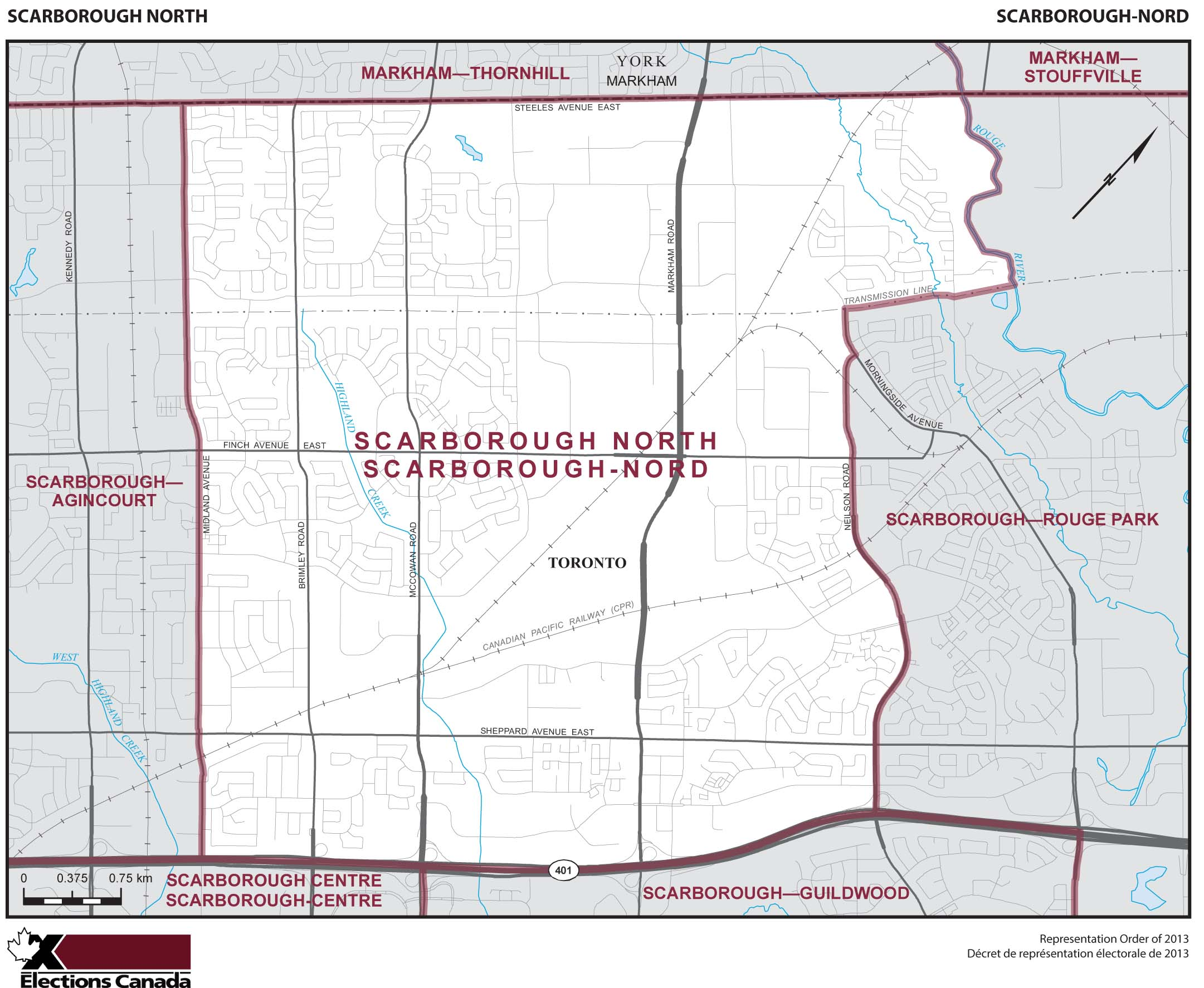Map: Scarborough North, Federal electoral district, 2013 Representation Order (in white), Ontario