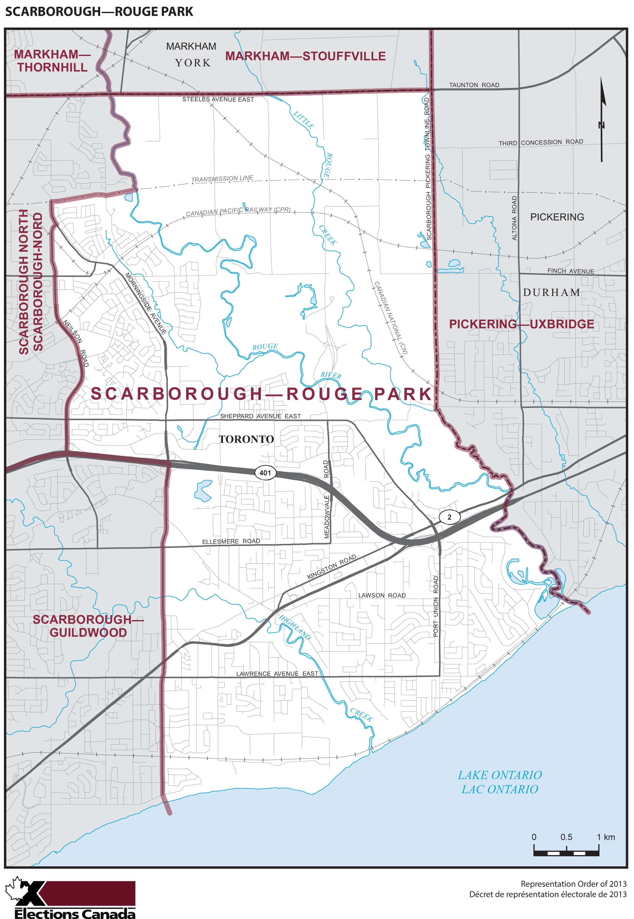 Map: Scarborough--Rouge Park, Federal electoral district, 2013 Representation Order (in white), Ontario