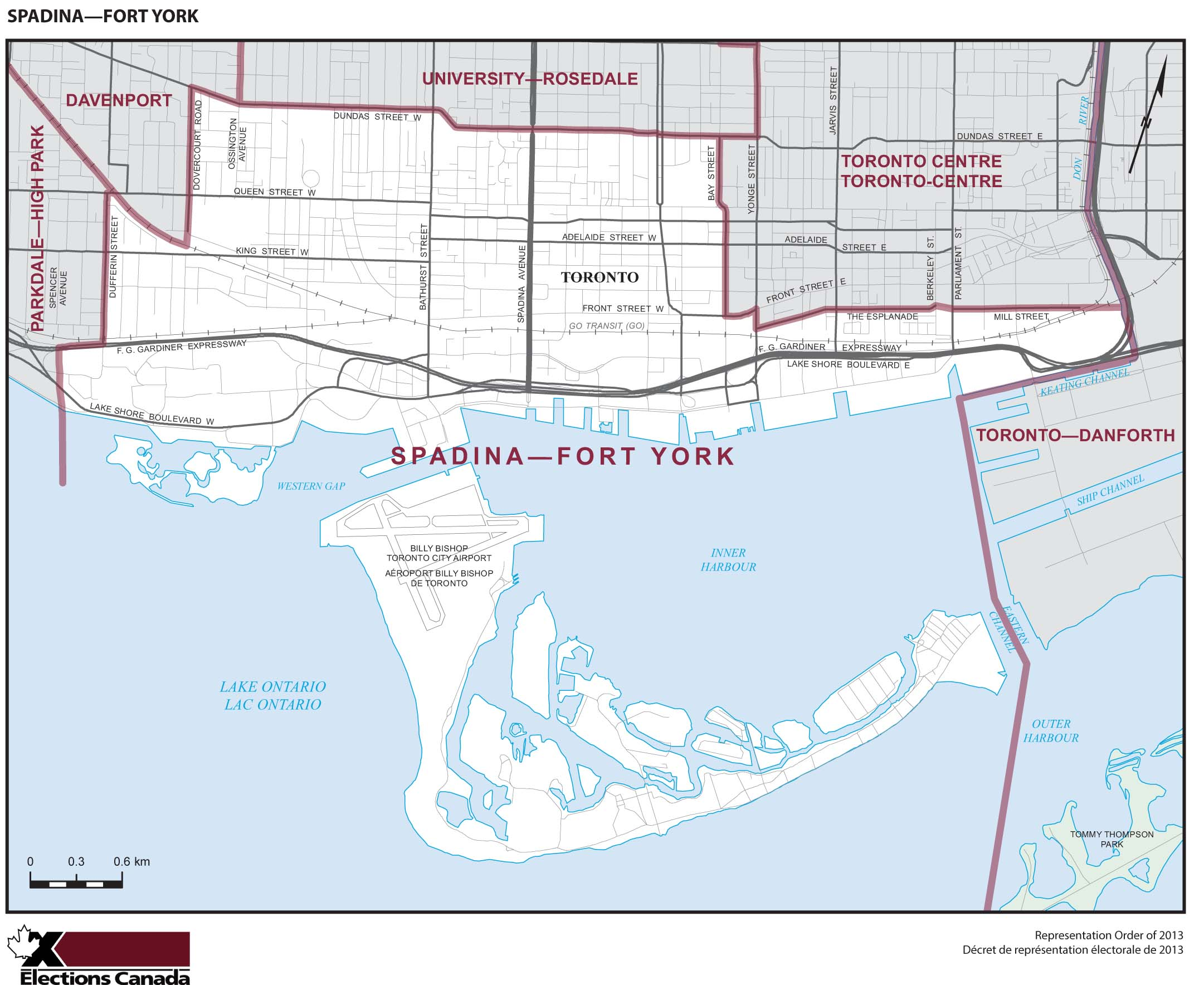 Map: Spadina--Fort York, Federal electoral district, 2013 Representation Order (in white), Ontario