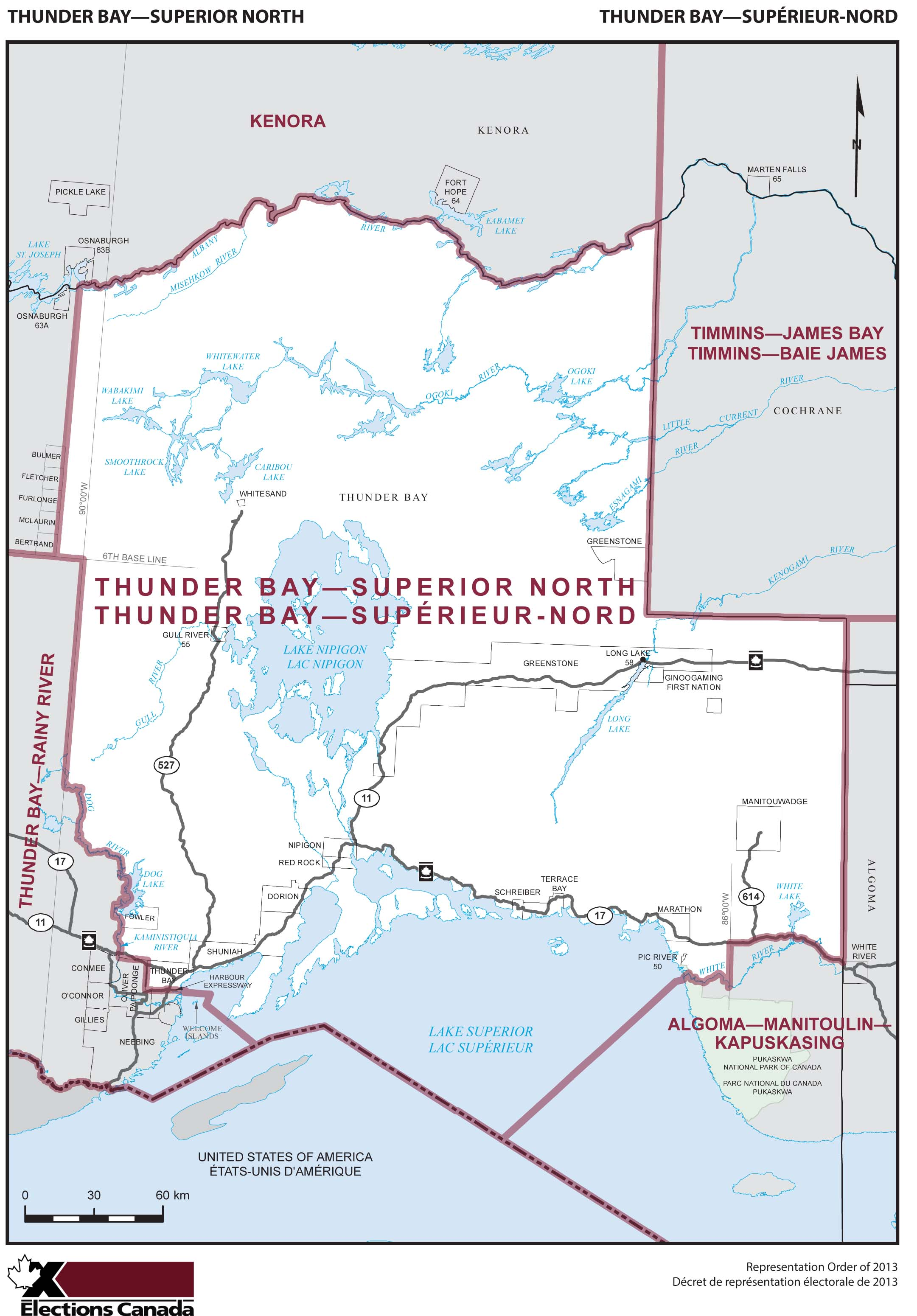Map: Thunder Bay--Superior North, Federal electoral district, 2013 Representation Order (in white), Ontario