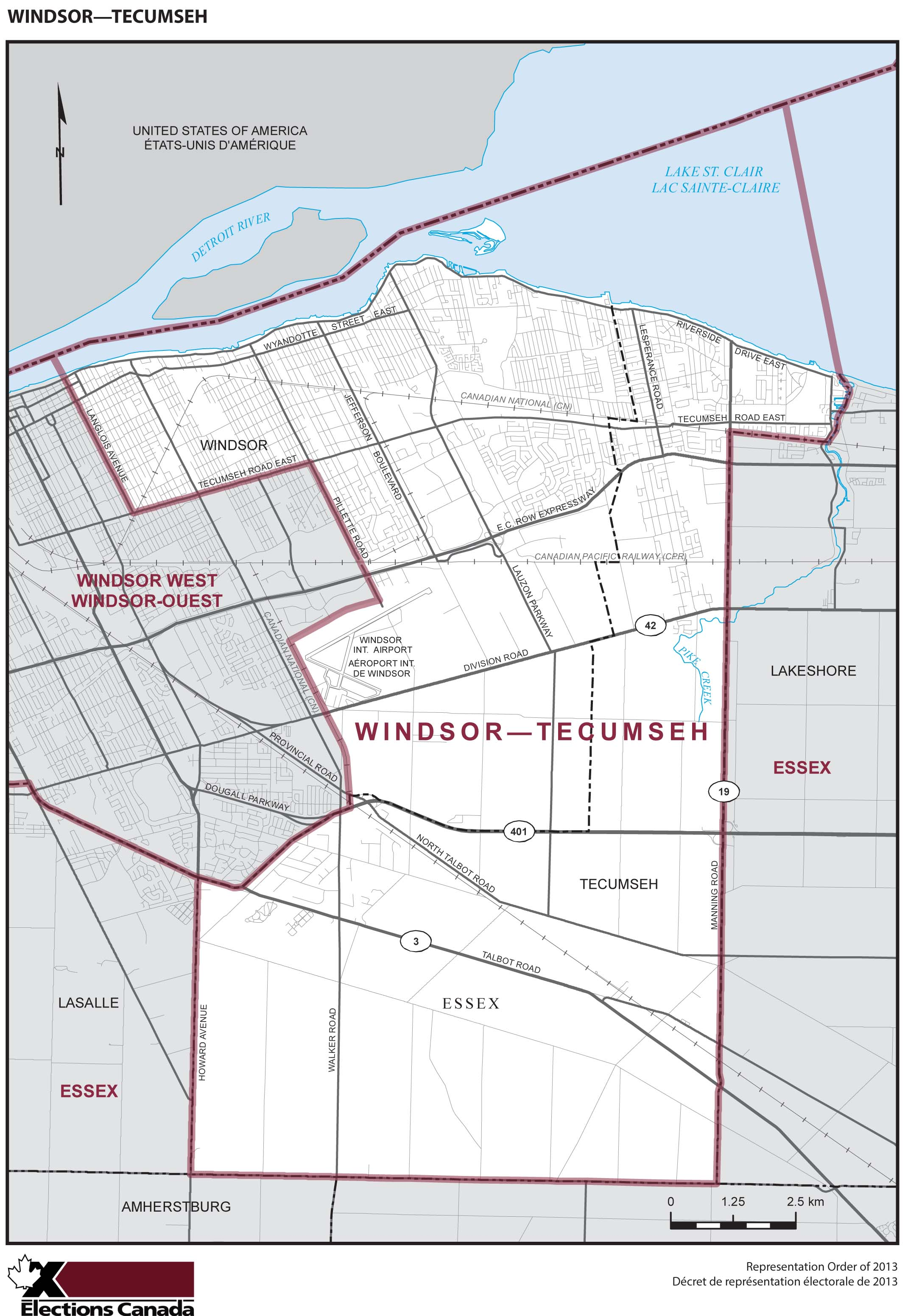 Map: Windsor--Tecumseh, Federal electoral district, 2013 Representation Order (in white), Ontario