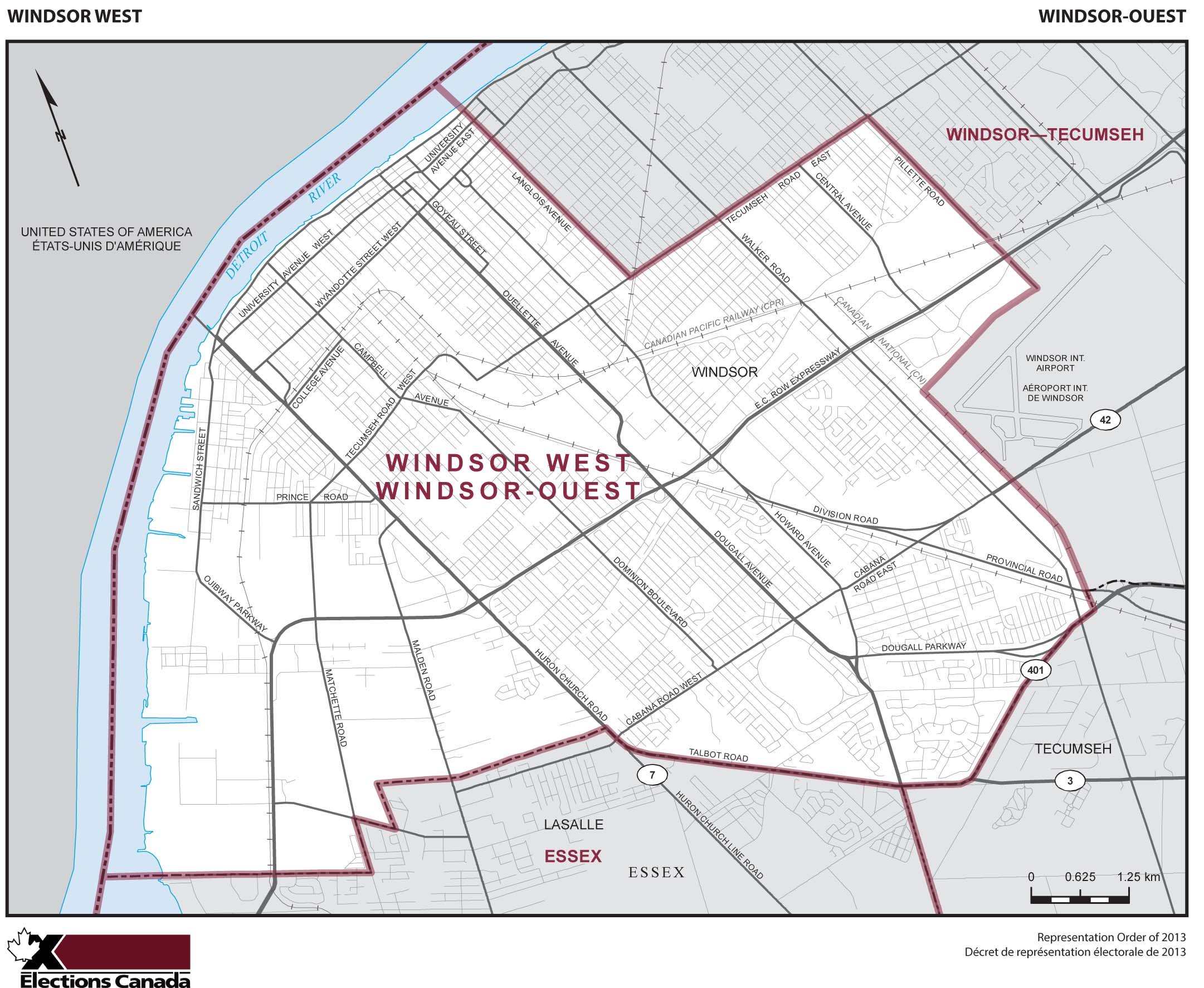 Map: Windsor West, Federal electoral district, 2013 Representation Order (in white), Ontario