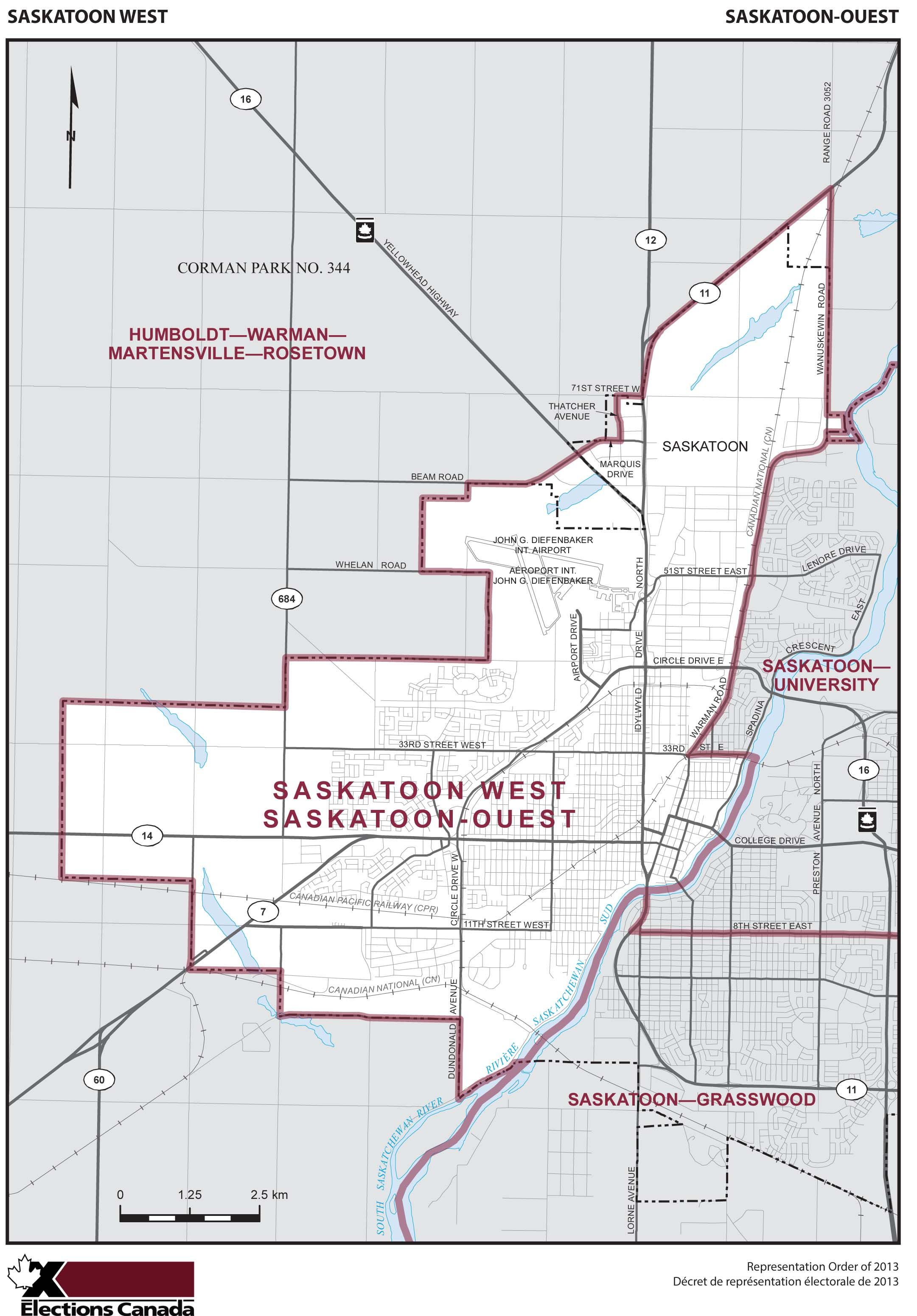 Map: Saskatoon West, Federal electoral district, 2013 Representation Order (in white), Saskatchewan