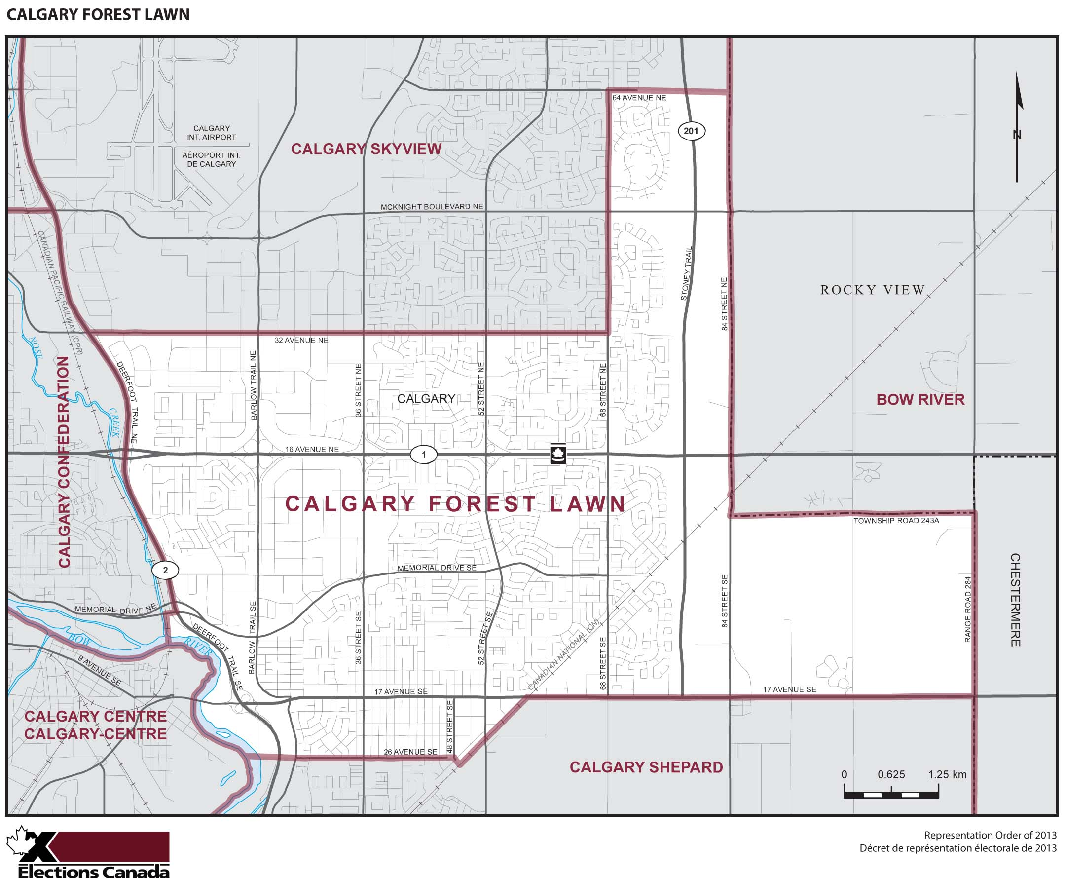 Map: Calgary Forest Lawn, Federal electoral district, 2013 Representation Order (in white), Alberta