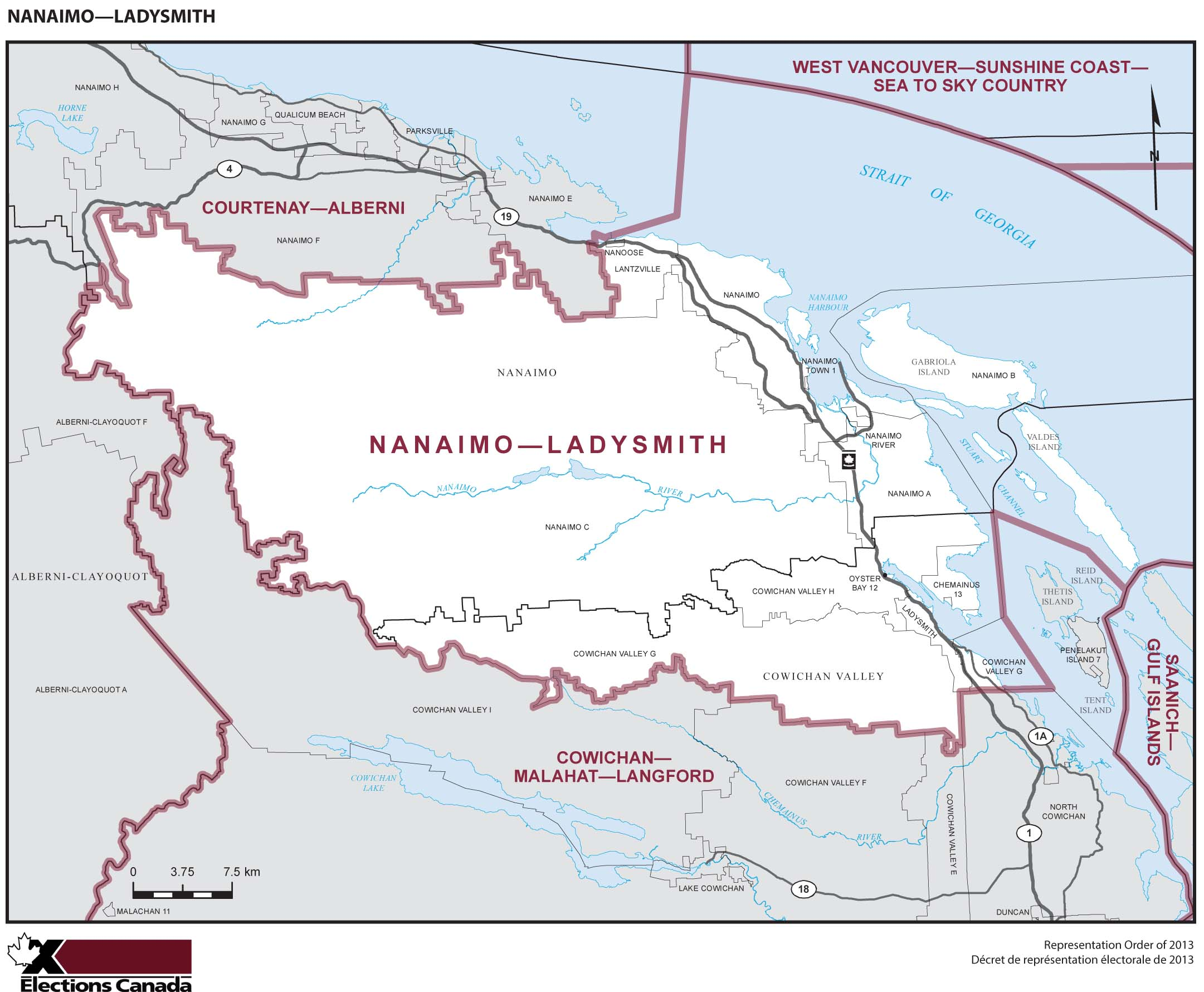 Map: Nanaimo--Ladysmith, Federal electoral district, 2013 Representation Order (in white), British Columbia