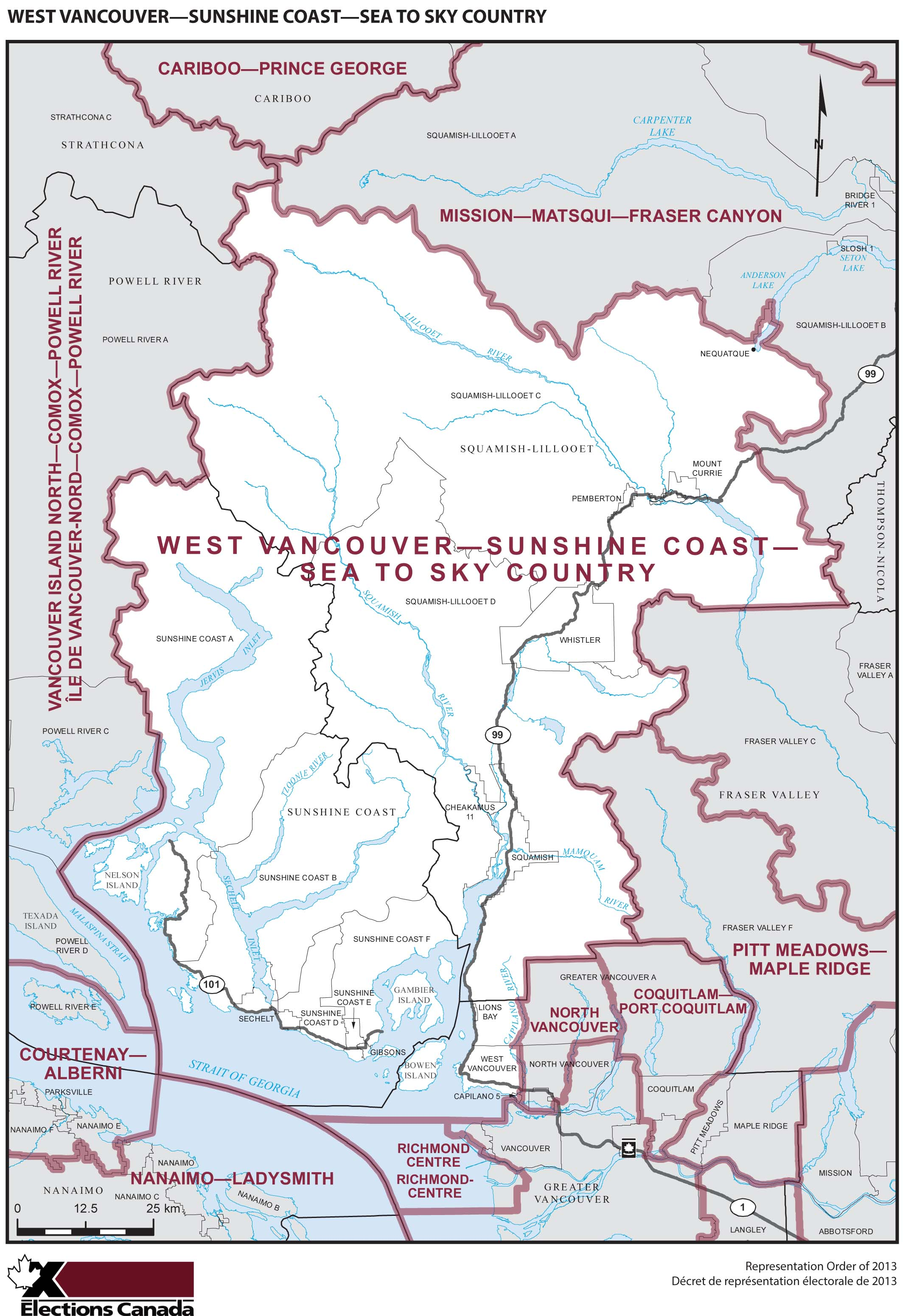 Map: West Vancouver--Sunshine Coast--Sea to Sky Country, Federal electoral district, 2013 Representation Order (in white), British Columbia
