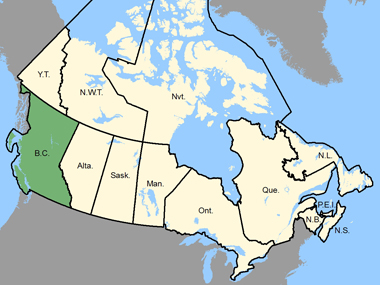 Map of Canada with the province of British Columbia shaded in green