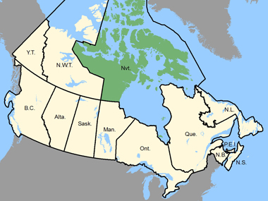 Map of Canada with Nunavut shaded in green