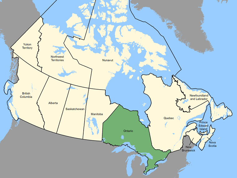 Map : Ontario (Province / Territory) shaded in green