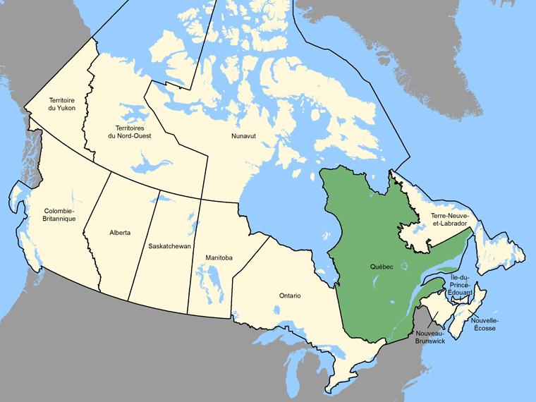 Carte : Quebec / Québec (Province / Territoire) ombrée en vert