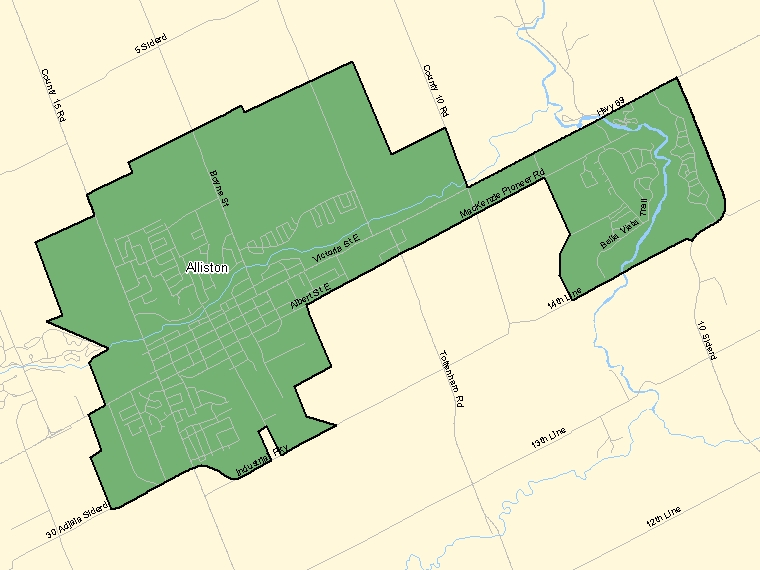 Map: Alliston, Population Centre (shaded in green), Ontario