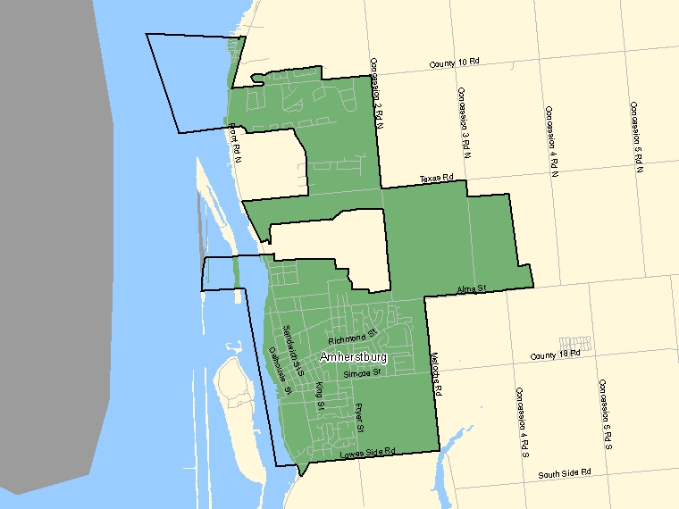 Map: Amherstburg, Population Centre (shaded in green), Ontario