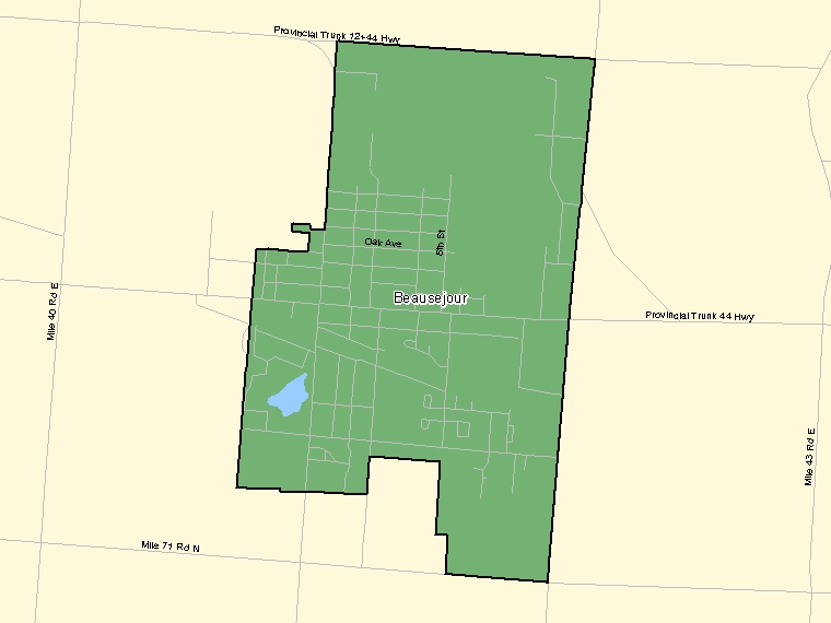 Map: Beausejour, Population Centre (shaded in green), Manitoba