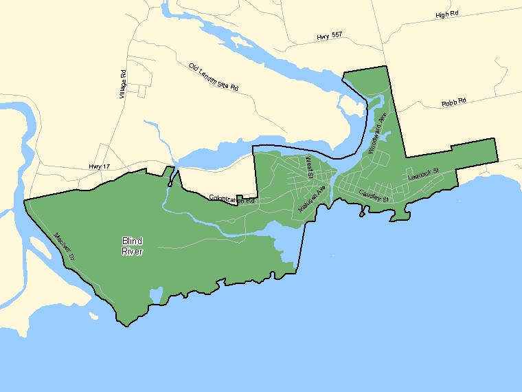 Map: Blind River, Population Centre (shaded in green), Ontario
