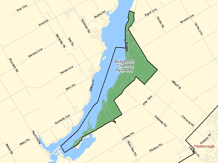 Map: Bridgenorth - Chemong Park Area, Population Centre (shaded in green), Ontario