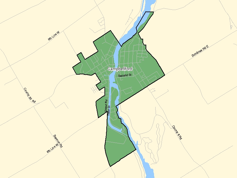 Map: Campbellford, Population Centre (shaded in green), Ontario
