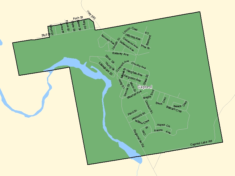 Map: Capreol, Population Centre (shaded in green), Ontario