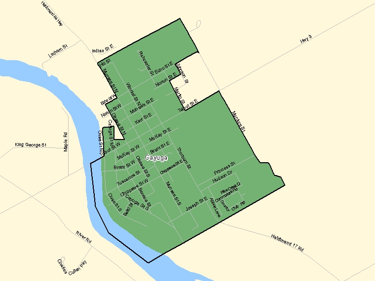 Map: Cayuga, Population Centre (shaded in green), Ontario