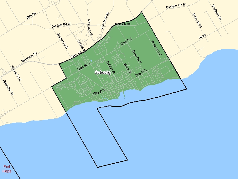 Map: Cobourg, Population Centre (shaded in green), Ontario