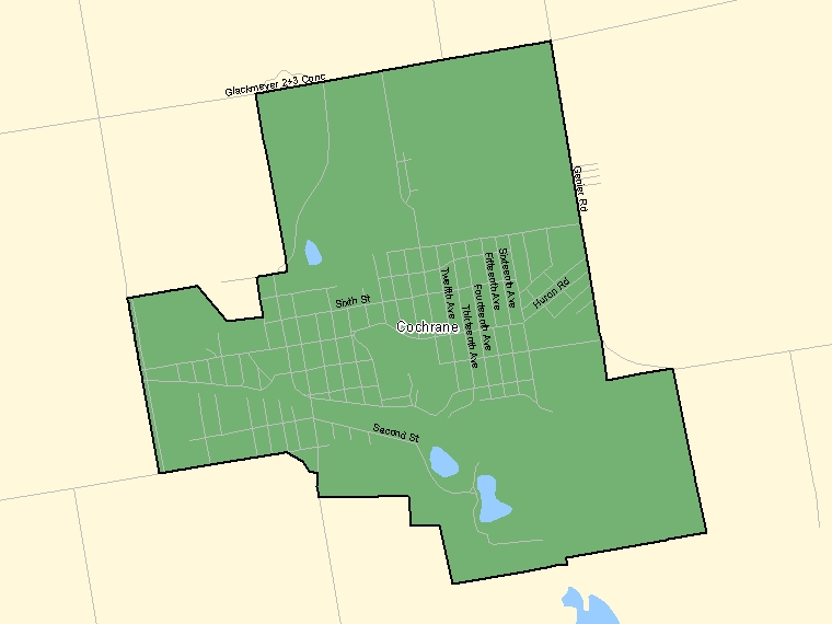 Map: Cochrane, Population Centre (shaded in green), Ontario