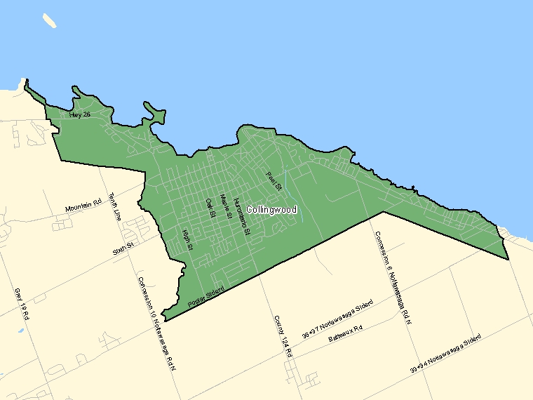 Map: Collingwood, Population Centre (shaded in green), Ontario
