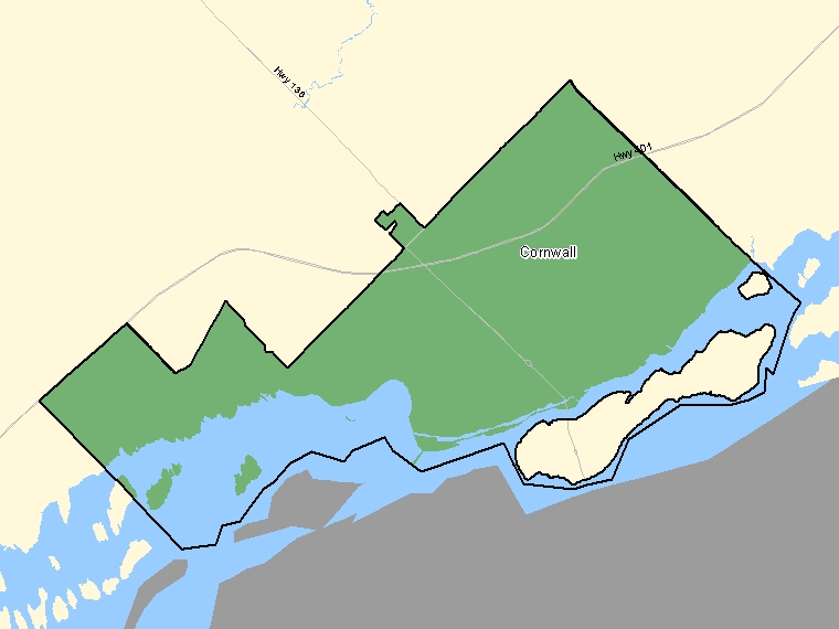 Map: Cornwall, Population Centre (shaded in green), Ontario
