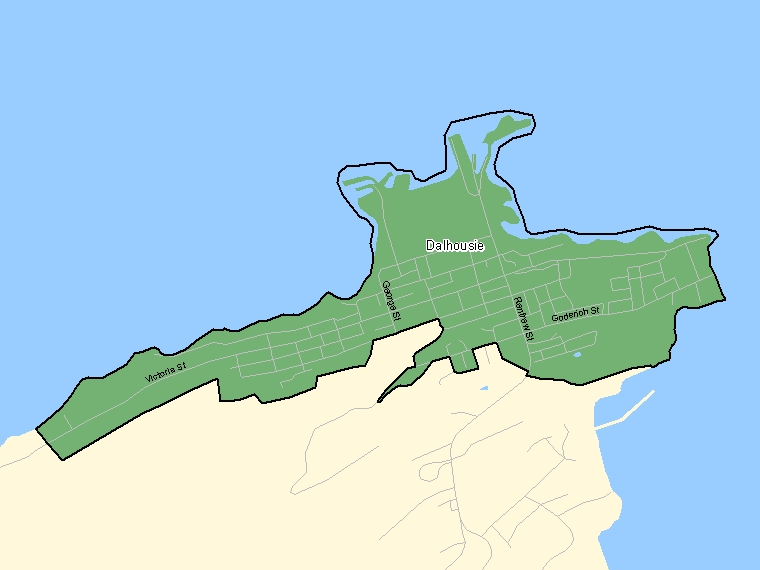 Map: Dalhousie, Population Centre (shaded in green), New Brunswick