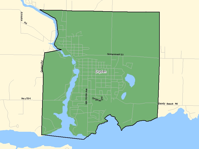 Map: Dryden, Population Centre (shaded in green), Ontario