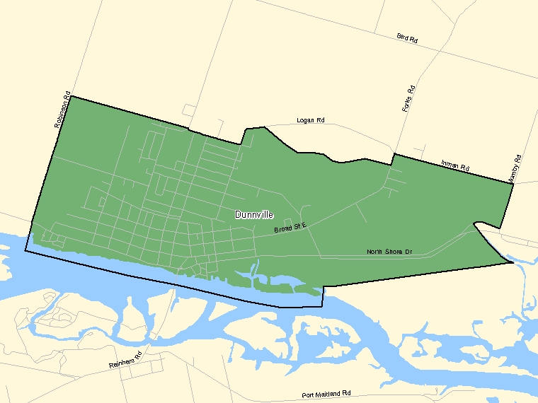 Map: Dunnville, Population Centre (shaded in green), Ontario