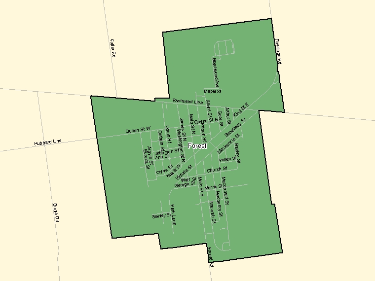 Map: Forest, Population Centre (shaded in green), Ontario