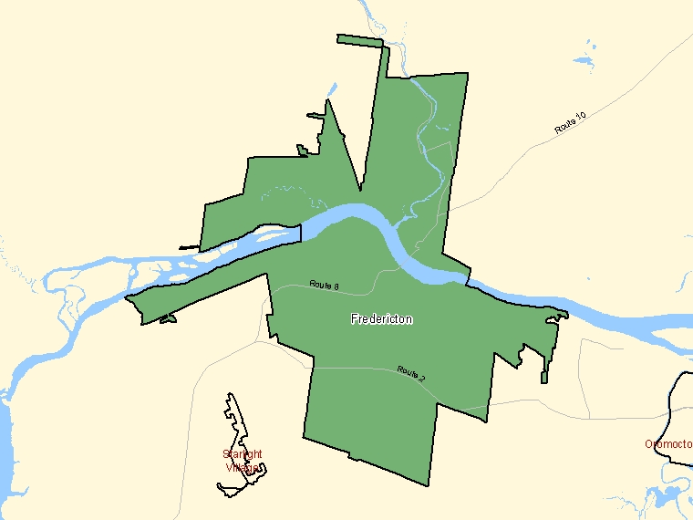 Map: Fredericton, Population Centre (shaded in green), New Brunswick
