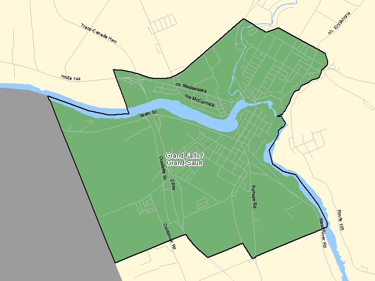 Map: Grand Falls / Grand-Sault, Population Centre (shaded in green), New Brunswick