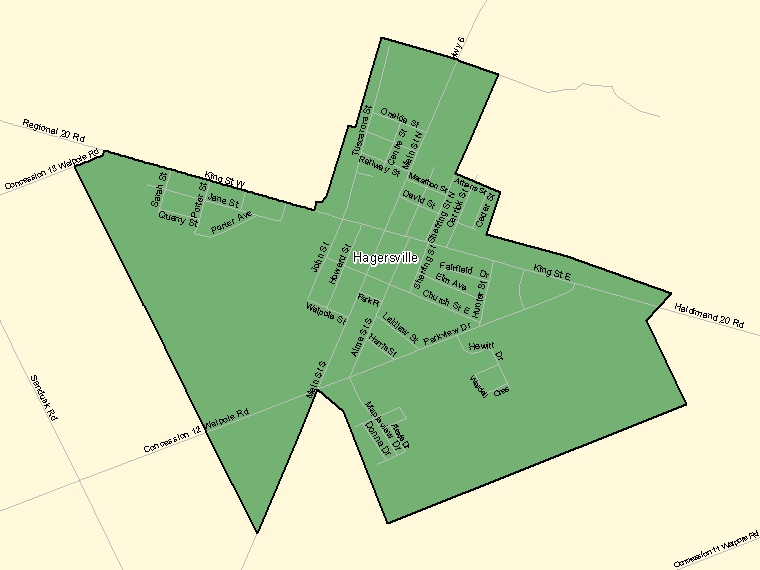 Map: Hagersville, Population Centre (shaded in green), Ontario